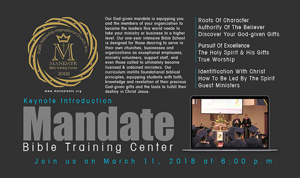 Mandate Bible Training Center Announcement and Keynote